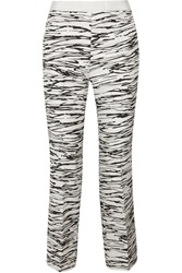 Giambattista Valli Zebra Print Silk And Wool Blend Matelasse Straight Leg Pants Animal Print
