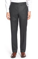 Men's Hickey Freeman 'Traveler' Flat Front Solid Wool Trousers