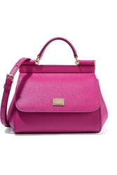 Dolce And Gabbana Sicily Mini Textured Leather Shoulder Bag Fuchsia