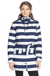 Women's Helly Hansen 'Lyness' Insulated Waterproof Coat Evening Blue Stripe