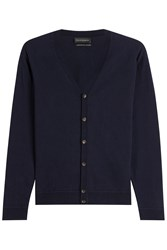 Baldessarini Cotton Cardigan With Cashmere Blue