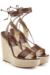 Michael Kors Collection Leather Espadrille Wedge Sandals Brown