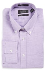 Nordstrom Men's Big And Tall Men's Shop Traditional Fit Houndstooth Linen And Cotton Dress Shirt Purple Mitten