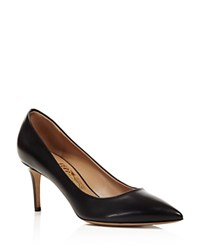 Salvatore Ferragamo Fiore Leather Pointed Toe High Heel Pumps Nero