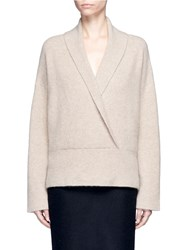 The Row 'Fontaine' Mock Wrap Cashmere Blend Top Neutral