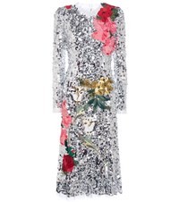 Dolce And Gabbana Sequinned Dress With Floral Applique Silver