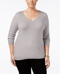 Charter Club Plus Size Cashmere V Neck Sweater Only At Macy's Heather Crystal
