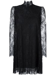 Philosophy Di Lorenzo Serafini Lace Overlay Pleated Back Dress Black