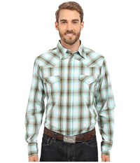 Roper 0192 Baseball Ombre Plaid Green Men's Long Sleeve Button Up