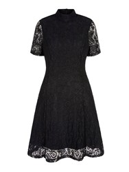 Yumi Floral Print Lace High Neck Dress Black