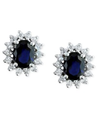 Effy Collection Royalty Inspired By Effy Sapphire 2 7 8 Ct.T.W. And Diamond 3 4 Ct. T.W. Stud Earrings In 14K White Gold