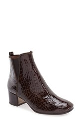 Donald J Pliner Women's 'Cayto' Croc Embossed Chelsea Boot Chocolate Patent Leather