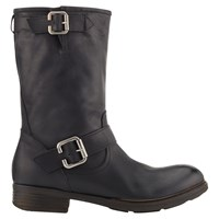 Jigsaw Marta Low Heeled Calf Boots Black Leather