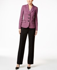 Le Suit Three Button Colorblocked Pantsuit Fuchsia Multi
