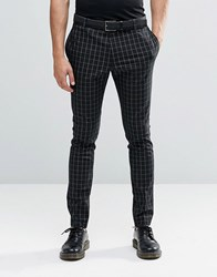 Religion Super Skinny Smart Trousers In Contrast Grid Check With Stretch Black