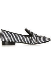 Tory Burch Evette Striped Snake Effect Leather Loafers Black