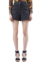 Valentino High Waisted Denim Shorts Navy