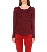 Closed Striped Cotton Jersey Top Red Brick