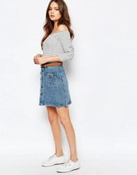New Look 70S Button Down Denim Skirt Blue