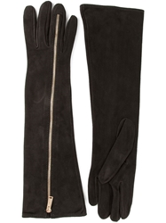 Dsquared2 Suede Long Zip Gloves Black