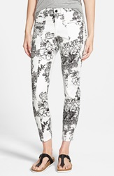 Standards Practices Floral Print Skinny Jeans White Black