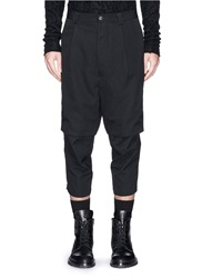 Song For The Mute Short Overlay Wool Gabardine Cropped Pants Black