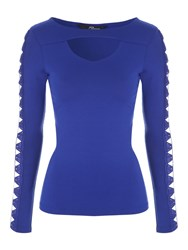 Jane Norman Cut Out Long Sleeved Top Blue