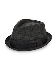 Block Headwear Straw Banded Fedora Black