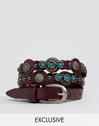 Reclaimed Vintage Leather Studded Belt Black Brown