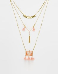Glamorous Layering Multirow Bead And Tassel Necklace Gold