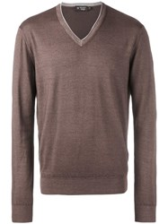 Hackett V Neck Jumper Brown