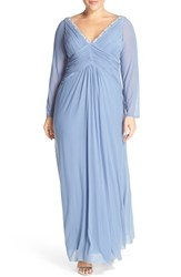 Plus Size Women's Marina Embellished V Neck Long Sleeve Gown