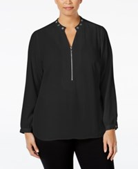 Ny Collection Plus Size Grommet Trim Zip Front Blouse Black