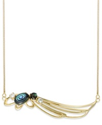 Sis By Simone I Smith 18K Gold Over Sterling Silver Necklace Abalone And Blue Crystal Angel Wing Pendant