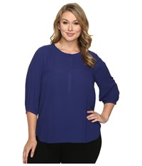 Nydj Plus Size Solid 3 4 Sleeve Pleat Back Nightshade Blue Women's Long Sleeve Button Up Multi