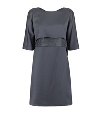 Armani Collezioni Beaded Waist Satin Dress Female Silver