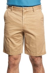 Men's Big And Tall Peter Millar 'Winston' Washed Twill Flat Front Shorts British Tan