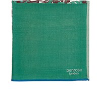 Penrose London Men's Mixed Print Sandgrouse Pocket Square Green