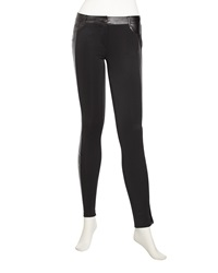 Romeo And Juliet Couture Faux Leather Skinny Ponte Pants Black