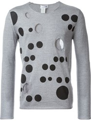 Comme Des Gara Ons Shirt Dots Print Cut Out Sweatshirt Grey