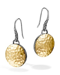 John Hardy Palu 18K Gold And Sterling Silver Round Drop Earrings Gold Silver