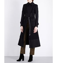 Alexander Mcqueen Strap Detail Wool And Cotton Twill Trench Coat Black