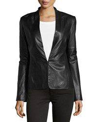 Halston Knit Panel Leather Blazer Black