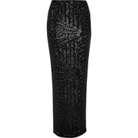 River Island Womens Black Sequin Panel Maxi Skirt