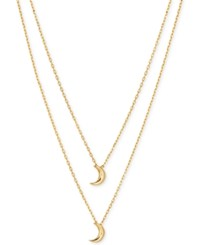Lucky Brand Gold Plated Sterling Silver Double Moon Layer Pendant Necklace
