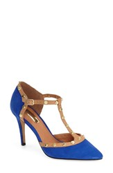 Women's Halogen 'Martine' Studded T Strap Pump Royal Blue Suede