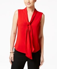 Calvin Klein Tie Neck Blouse Red