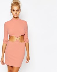 The Ragged Priest High Neck Bodycon Dress With Cut Out Ring Detail Pink