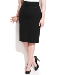 Calvin Klein Plus Size Pull On Tummy Control Pencil Skirt Black
