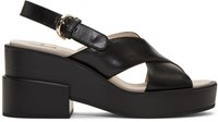Jil Sander Navy Black Chunky Criss Cross Sandals
